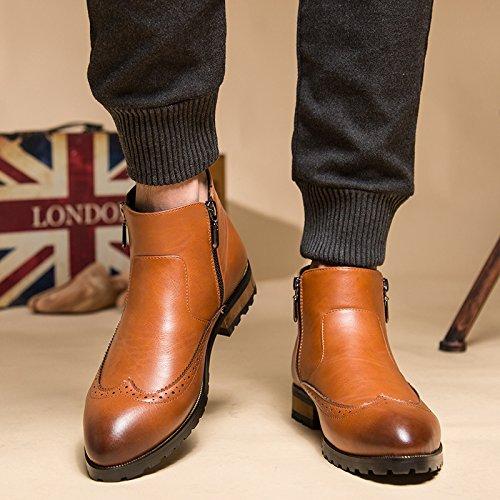 WZG Locke tallado masculinas botas Shibu Chelsea, más zapatos de terciopelo acolchado de cuero repujado cargadores de la motocicleta Martin botas altas zapatos de peluquería Brown