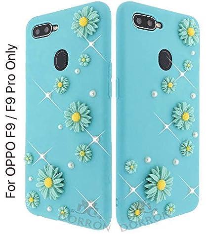 san francisco c51da e1c0c DORRON Soft Silicone 3D Pearl Flower Girls Back Cover Case for Oppo F9 / F9  Pro (Mint Green)