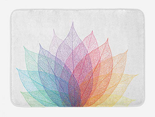 """Ambesonne Abstract Bath Mat, Leaf Abstract Artwork 4 Season Flora Delicate and Nature Theme, Plush Bathroom Decor Mat with Non Slip Backing, 29.5"""" X 17.5"""", Turquoise Purple"""