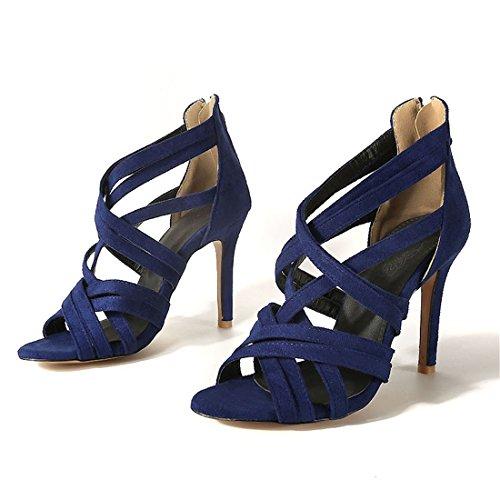 blu sandali sandali 32 signore i i zipper tacchi tacchi sandali alti sexy con alti RUR7q