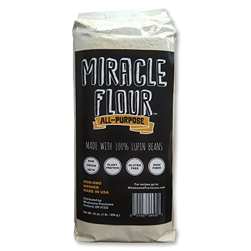 Low Carb Flour - 100% Lupin Flour, Non-GMO, Made in USA, All Purpose, Gluten Free, Vegan, Plant Protein, Low Carb Flour, Keto-Friendly, High Protein, Miracle Flour (1 Pack)