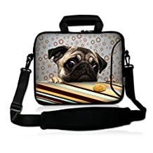 """ICOLOR Neoprene Laptop Shoulder Bag with Strap Waterproof Shoulder Case Pouch School Office Work Case Bag with Multi Pictures for Size 14.5"""" 15 inch 15.6"""" Pro/HP/Acer/Dell/Asus/Samsung Notebook Dog"""