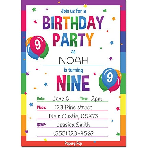 Good 9th Birthday Party Invitations With Envelopes 15 Count