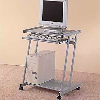 Coaster Contemporary Computer Workstation Office Desk / Table, Silver Finish