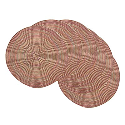 Famibay Round Place Mats, Round Washable Placemats for Dining Table Heat Insulation Table Mats for Kitchen 15 Inches (Set of 6,Rainbow) - High Quality Polypropylene and Cotton: Moisture, antibacterial, easy to clean, no fading. Environmental Friendly Material: Suitable for kitchen, dining table and other occasions. Good Thermal Insulation: Good thermal insulation to protect your dining table from damage. - placemats, kitchen-dining-room-table-linens, kitchen-dining-room - 51lKigq2QxL. SS400  -