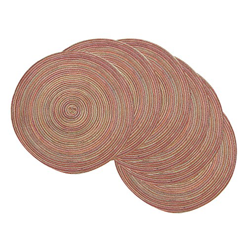 Famibay Round Place Mats, Round Washable Placemats for Dining Table Heat Insulation Table Mats for Kitchen 15 Inches (Set of 6,Rainbow)