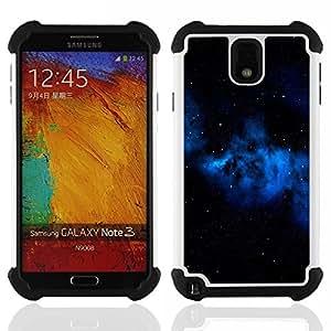 For Samsung Galaxy Note3 N9000 N9008V N9009 - Blue Galaxy Gas Cloud Stars Universe Space /[Hybrid 3 en 1 Impacto resistente a prueba de golpes de protecci????n] de silicona y pl????stico Def/ - Super Mar