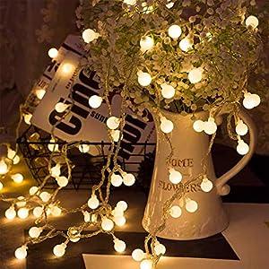 BANCELI-Catena Luminosa Solare - 100LED 10M Luci Decorative Stringa Solari Impermeabile Illuminazione per Natale Luce Solare a Sfera di Cristallo per Giardino, Patio, Alberi (Bianco Caldo) 9 spesavip