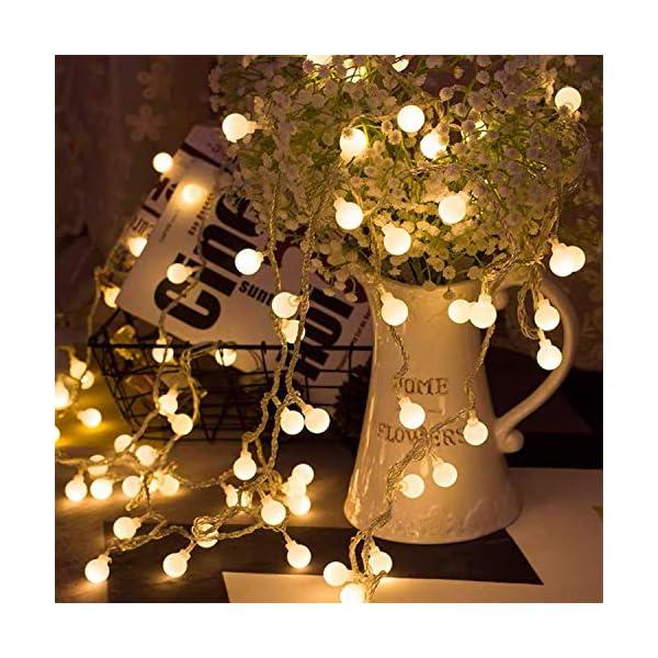 BANCELI-Catena Luminosa Solare - 100LED 10M Luci Decorative Stringa Solari Impermeabile Illuminazione per Natale Luce Solare a Sfera di Cristallo per Giardino, Patio, Alberi (Bianco Caldo) 1 spesavip