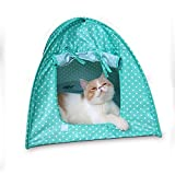 OWIKAR Cat Pet Camping Tent House Foldable Bed Durable Polka Dots Cave Outdoor Indoor Tent Sun Shelter House Cage For Kitten Puppy And Small Pet (Green)