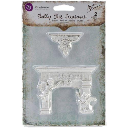 (Prima Marketing Shabby Chic Treasures Resin, Cherub Fireplace and Shelf, 2-Pack)