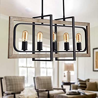 "TZOE Rectangle Dinning Room Chandeliers,Rustic Pendant Lighting for Kitchen Island, Wood Color Metal&Black Finish Vintage Industrial 5-Light Chandelier,L31.5"" x W8.6"" x H13.7"""