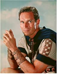 Charlton Heston 8 inch by 10 inch PHOTOGRAPH Planet of the Apes The Ten Commandments Ben-Hur from Waist Up Hands Together Sky in Background kn