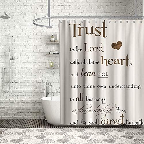 Final Friday Funny Shower Curtains Bible Verse Scripture Quotes Proverbs Theme Cloth Fabric Bathroom Decor Sets with Hooks Waterproof Washable 70 x 70 inches Beige and Brown