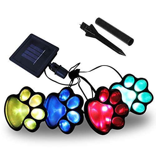 Obrecis LED Solar Paw Print Outdoor Decor Solar Light, Dog Puppy, Bear, Animal, Cat Paw Path Light, Garden Lamp for Landscape Walkway Yard, Set of 4(Colorful)