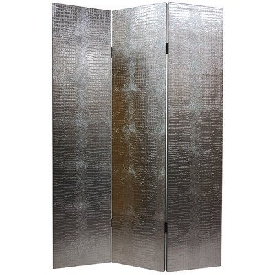 faux leather crocodile room divider in silver by oriental furniture - Cheap Mirrored Furniture