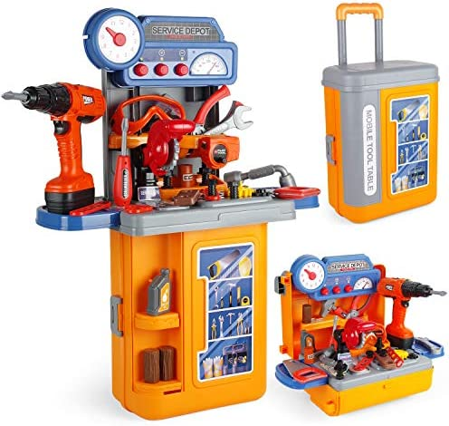 JOYIN 4 in 1 Construction Workbench Tool Bench Set with Electric Drill, Goggles and More Tool Toys Travel Case Toolset with Construction Toy Vehicles