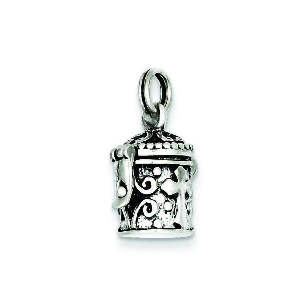 Sterling Silver Antiqued Cross Prayer Box Charm
