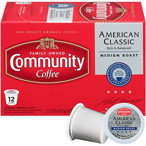 Community Coffee - American Classic Medium Roast Coffee - 12Count Single Serve, Compatible with Keurig 2.0 K Cup Brewers, Full Body Bold Taste, 100% Arabica Coffee Beans