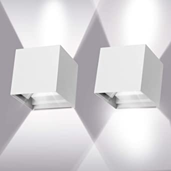 2 paquetes 12W aplique pared exterior 6000K blanco IP65 impermeable apliques pared interior