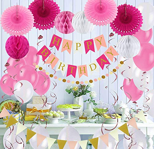 Air Fit Pink and White Birthday Girl Party Decorations Set Pack Supplies Birthday Garland Banner Bunting with 55 Pieces For For Girl Princess Theme Decorations Women Party Supplies Pack For all of Women's age groups Party Supplies -