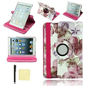 """Voberry Luxury 7.9"""" Sleep/Wake 360 Rotating Wallet Design Folio/Flip PU Leather Magnetic Case Cover + Free Stylus + Cleaning Cloth for Apple iPad Mini"""