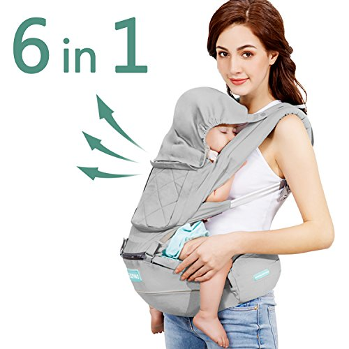 Windsleeping Toddler Baby Carrier with Hood for All Seasons,6-in-1 Ways to Carry,Hip Seat Carrier Front and Back,Silicone Skid-Proof Seat Surface,Suit for Infant,Toddler,Kids,Newborn - Gray