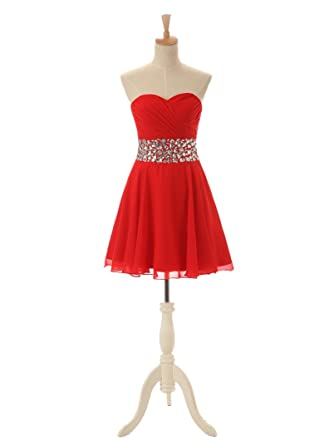WDH Dress Sweetheart Backless Short Red Homecoming Dress Beaded Prom Dress: Amazon.co.uk: Clothing