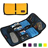 Khanka Travel Gear Organizer, Electronics Accessories Organize Bag, Cable Management Travel Carry Case, Healthcare Kit and Cosmetics Bag (Large-Orange)
