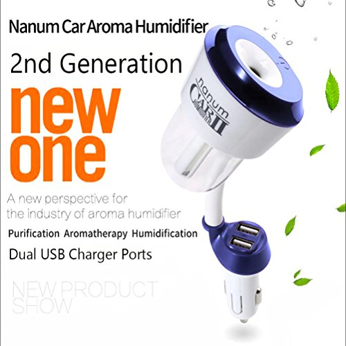 Car Humidifier 2 USB Charger Port Essential Oil Aroma Diffuser Portable Ultrasonic Mini Cool Mist Humidifier Air Purifier Aromatherapy Mist Maker Humidificador (Blue)