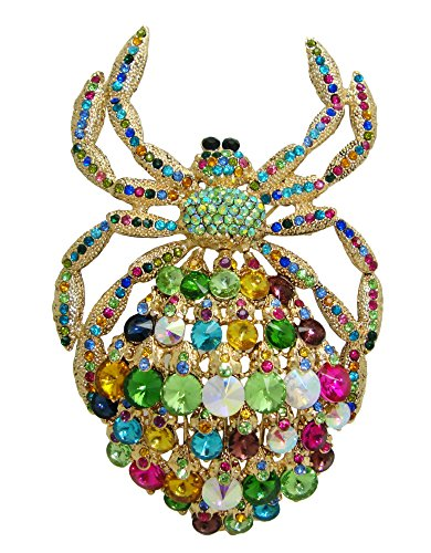 TTjewelry Classic Deluxe Rhinestone Crystal Big Spider Brooch Pins Huge Animal Pendant B10479200 (Bright-color)