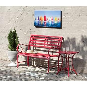 Amazon Com Cape Craftsmen Red Metal Garden Bench 44 X