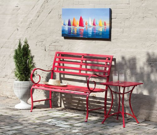 Cheap Red Metal Garden Bench