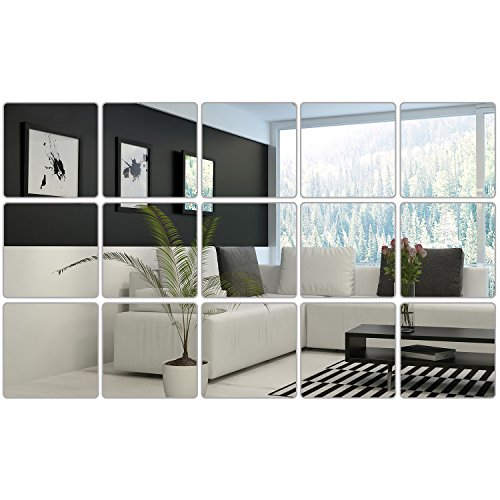 Square Wall Decals (BBTO 6 x 6 Inches Mirror Sheets Square Mirror Decals Self Adhesive Mirror Tiles Non-Glass Mirror Stickers, 15 Pieces)