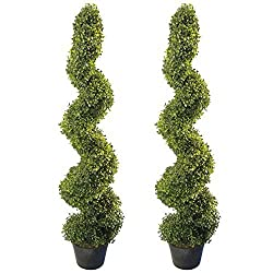4' Artificial Topiary Spiral Boxwood Trees (Set of 2) by Seven Oaks   Highly Realistic Potted Decorative Buxus Shrubs   Fake Plastic Plants for Home / Garden   Indoor & Outdoor Use   UV Protected