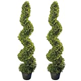 great boxwood garden design 4' Artificial Topiary Spiral Boxwood Trees (Set of 2) by Seven Oaks | Highly Realistic Potted Decorative Buxus Shrubs | Fake Plastic Plants for Home / Garden | Indoor & Outdoor Use | UV Protected
