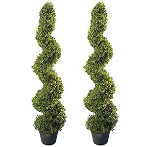 4' Artificial Topiary Spiral Boxwood Trees (Set of 2) by Northwood Calliger | Highly Realistic Potted Decorative Buxus Shrubs | Fake Plastic Plants for Home / Garden | Indoor & Outdoor Use | UV Protec 15