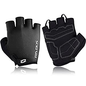 RIVBOS Bike Gloves Cycling Gloves Fingerless for Men Women with Foam Padding Breathable Mesh Fashion Design for Mountain Bicycle Motorcycle Riding Driving Sports Outdoors Exercise CHG001 (Black M)