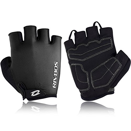 RIVBOS Bike Gloves Cycling Gloves Fingerless for Men Women with Foam Padding Breathable Mesh Fashion Design for Mountain Bicycle Motorcycle Riding Driving Sports Outdoors Exercise CHG001 (Black XL) - Fingerless Motorcycle Riding Gloves