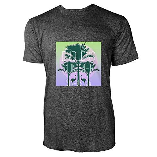 SINUS ART® Flamingos vor Sonnenuntergang Herren T-Shirts in dunkelgrau Fun Shirt mit tollen Aufdruck