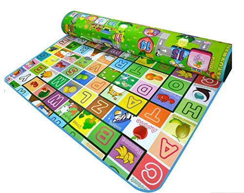 Reversible Kids Activity Mat Baby Care Play Mat - Foam Floor Gym - Non-Toxic Non-Slip Reversible Waterproof by Toner Depot