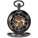 Treeweto Steampunk Skeleton Mechanical Copper Fob Retro Pocket Watch