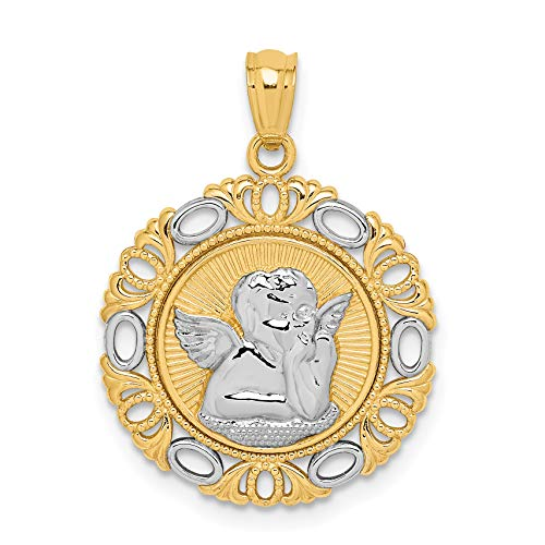 14k Two-Tone Yellow Gold Cherub Angel in Round Pendant with Ornate Border