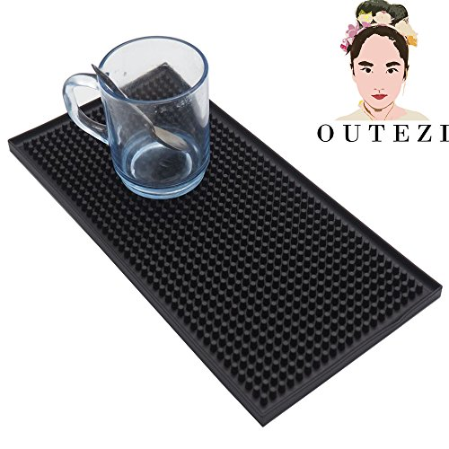 6'' x 12'' Black Bar Mat (1) by OUTTEZII