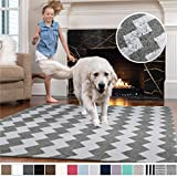 GORILLA GRIP Original Faux-Chinchilla Area Rug, 4x6 Feet, Super Soft and Cozy High Pile Washable, Modern Rugs, Luxury Shag Carpets for Home, Nursery, Bed and Living Room, Chevron: Light Gray and White