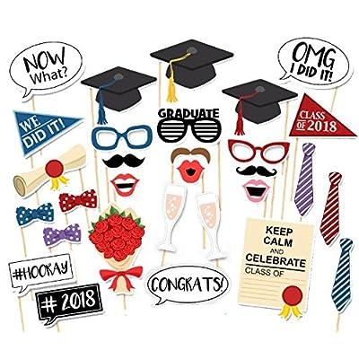 Veewon Nouveau 2018 L'obtention du diplôme photo Cabine Accessoires Lunettes de fête Moustache Lèvres rouges Cravates d'arc sur bâtons Décorations de parti de diplôme, 30 pièces