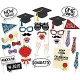 Veewon Nuove 2017 Graduation Photo Booth puntelli del partito Occhiali Moustache Red Lips papillon su bastoni laurea decorazioni della festa, 30 pezzi