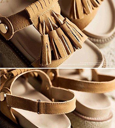 Tassel Rome Toe Women Size Mid Pump Open Sandals Slingback brown Heel Shoes light Eu Sandals 35 Casual Seude Flat Girls 40 Velcro tqxFw67