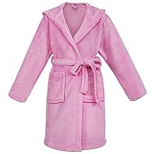 Girl's Coral Velvet Hooded Bathrobe Robe with Hood & Pockets,Pink,L