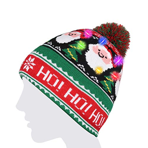 LED String Light Up Beanie Hat Knit Cap with Copper Wire Colorful Lights for Kids and Teens Christmas Gift Funny Hat Indoor Outdoor, Festival, Holiday, Celebration, Parties, Bar, etc. (Colorful)
